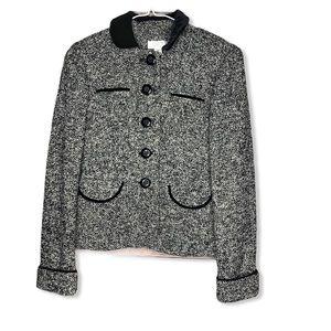 Loft Blazer 2 Petite Black Tweed Velvet Collar